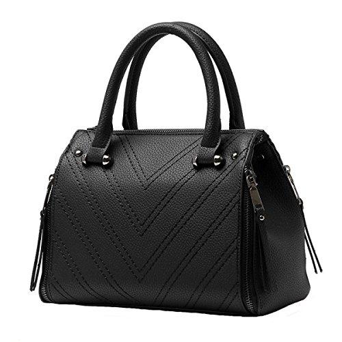 Damen Retro Mode Handtasche Große Kapazität Niet Reißverschluss Messenger Bag Black