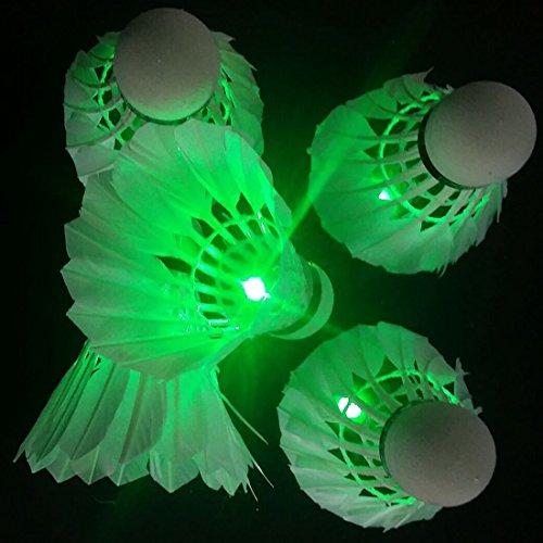 farshop LED Badminton Federball Dark Night Glow Birdies Beleuchtung für Sportarten grün grün 4 Stück Badminton Feather Birdie