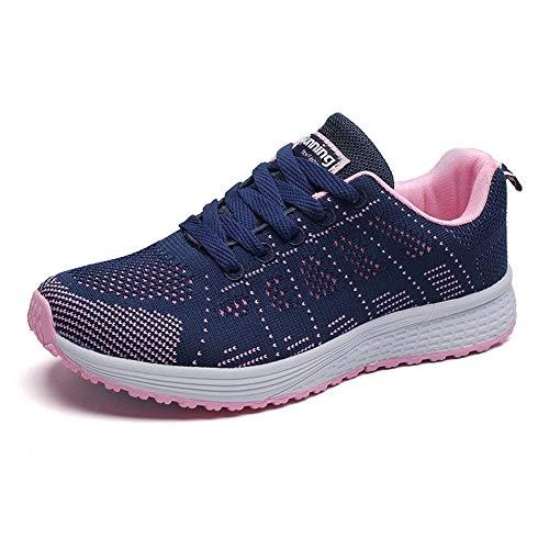 Damen Turnschuhe Hallenschuhe Atmungsaktiv Outdoor Fitnessschuhe Laufschuhe Schnürsenkel Frauen Sportschuhe Flach Blau 40 EU