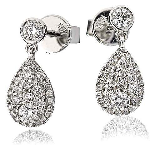 0.70CT Certified G/VS2 Pave Diamond Drop Pear Shape Earrings in 18K White Gold