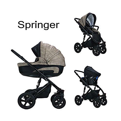 Springer 3 in 1 Kombi Kinderwagen Baby Erstausstattung Sportwagen Kombikinderwagen Set CityPlus (Casablanca)