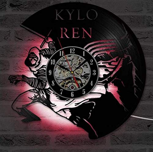 BOC Reloj de Pared con Diseño de Disco de Vinilo Star Wars Kylo Ren - 7 Colores Cambiar Lámpara de Pared Led Illusion Night Light con Control Remoto, Novia [Clase de Energía A],UNA,Reloj