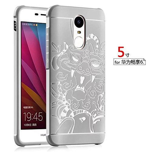 YHUISEN Huawei Enjoy 6 Fall, echte Qualität TPU ultra dünne schützende Fall-Silikon Shockproof Abdeckung für Huawei Enjoy 6 ( Color : Gray , PATTERN : Dragon ) Gray