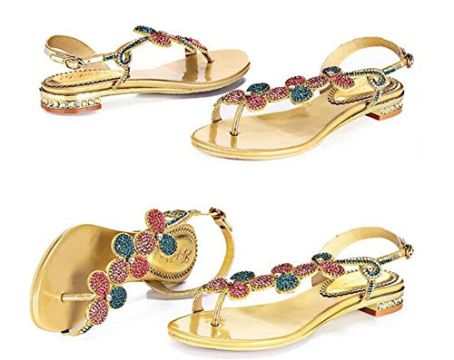 SYYAN Damen Leder Strasssteine Offener Zeh Pure Handmade Low-heeled Sandalen Gold