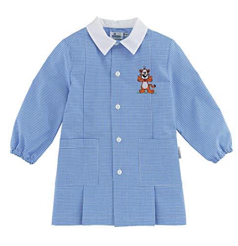 Siggi grembiule bimbo scuola bambino asilo scozzese azzurro tg 45 e tg 70