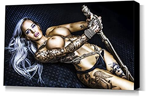 Bamboo Pole, Vanessa Louis - stretched canvas print - Fine Art of Bondage, sexy erotic fetish BDSM wall art, 40x60 cm, 16