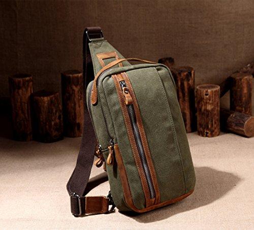 Vaschy Pelle Tela Sling sacchetto esterno di viaggio militare Messenger Cross-cassa corpo Bag spalle bicicletta Escursionismo Bag-Grigio scuro Esercito verde