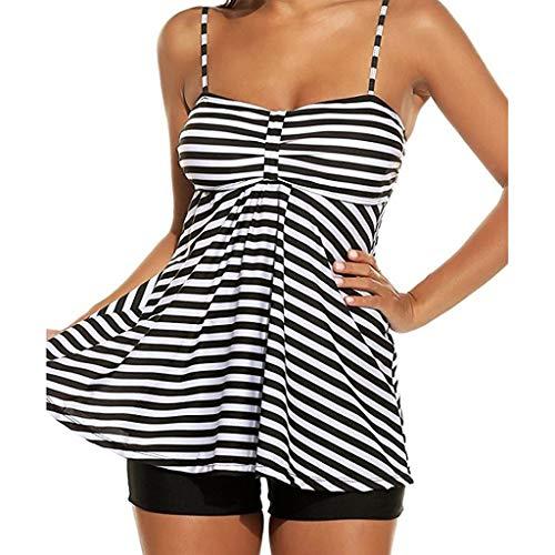 WWricotta Women Beach Striped Print Tankini 2PCS Bathing Surfing Swimwear Suit Plus Size(Schwarz,XXXXXL)