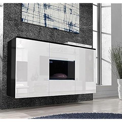 Muebles Bonitos – Aparador colgante de diseño Varedo negro y blanco