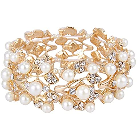 EVER FAITH® Silver-Tone Crystal Simulated Pearls Stretch Bridal Bracelet Clear - Gold-Tone