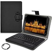 """kwmobile Funda con teclado QWERTY para 7-8"""" Tablet con soporte - Funda protectora de piel sintética para tablet en negro - compatible por ej. con Apple, Samsung"""