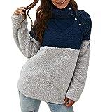 Xuthuly Warme Lange Ärmel der Frauen schräge Knopf-Ansatz-Spleiß-geometrisches Muster-Vlies-Pullover-Mantel-Sweatshirts Outwear