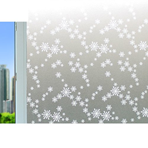 Pegatinas de cristal de ventana,Espesado película electrostática vidrio Helado etiquetas engomadas de la ventana Papel de ventana dormitorio Pegatinas baño Etiqueta de la pared aislante copo de nieve-C 60x100cm(24x39inch)