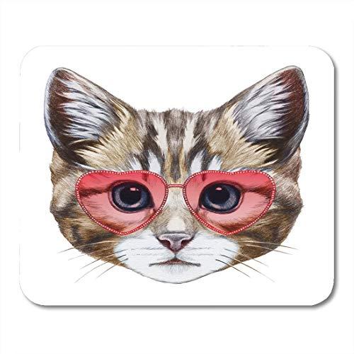 Luancrop Mausunterlage Katze im Liebes-Porträt der herzförmigen Sonnenbrille digital Mousepad für Notizbücher, Tischrechner-Mausunterlagen, Bürozubehöre