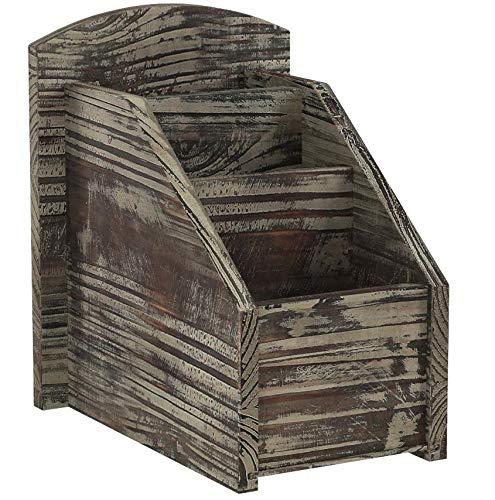 MyGift 3Slot Rustikal Torched Holz Fernbedienung Caddy/Media Organizer, Office Supply Storage Rack