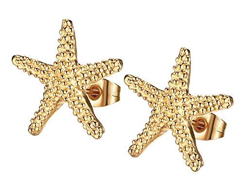 Kangqifen Schmuck Damen Ohrringe Ohrstecker 2 PCS Titan Stahl Vergoldung Seestern Ohrschmuck 15 x 15 mm