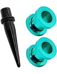 1 Pieza Acrílico Dilatador Dilataciones Negro + 2 Piezas Acero Inoxidable Túnel Piercing Pendientes Expansor Verde