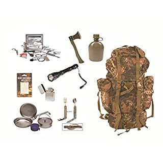 Survival Set BW Bundeswehr flecktarn Kampfrucksack + Paracord Survival Kit + Beil + Geschirr etc.