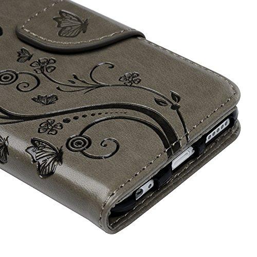 Badalink Hülle für iPhone 6/6s Rosarot Schmetterling Handyhülle Leder PU Case Cover Magnet Flip Case Schutzhülle Kartensteckplätzen und Ständer Handytasche mit Eingabestifte und Staubschutz Stecker Grau
