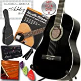 ASHLEY Klassik Konzert Gitarre Schwarz mit Set mit Lehrbuch: Akustikgitarre inkl. CD und DVD Lehrgang!