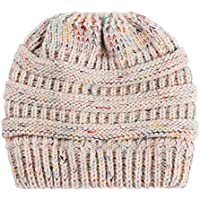 Squishtoy Las Mujeres Beanie Tail Soft Stretch Cable Knit Messy High Bun Ponytail Hat (Beige)