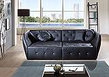 SAM Design Sofa Shel in schwarz Couch inklusive 4 Kissen abgesteppte Oberfläche mit Ziersteinen