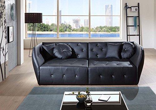 SAM® Design Sofa Shel in schwarz Couch inklusive 4 Kissen abgesteppte Oberfläche mit Ziersteinen