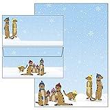 Briefpapier-Mappe - witzige Erdmännchen im Winter 50-teilig 25 Blatt Briefpapier + 25 Stück Briefumschläge DIN lang ohne Fenster 51065+61065