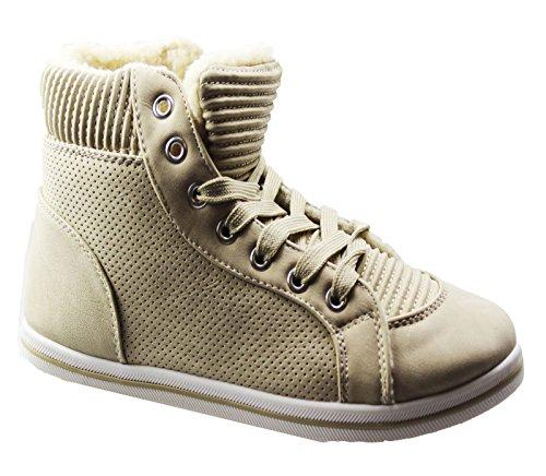 Senhoras Botas Forradas De Pele Do Inverno Quente Rendas Até Trainer Confortável Tornozelo Sapatos Baixos Bege