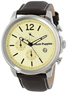 Hush Puppies Orbz Men's Automatic Watch with Beige Dial Analogue Display and Brown Leather Strap HP.6065M.2.2519