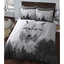 Sleepdown Wolf Panel Multi Colour Winter Luxury Soft Duvet Cover Quilt Bedding Set With Pillowcases - Double (200cm x 200cm)