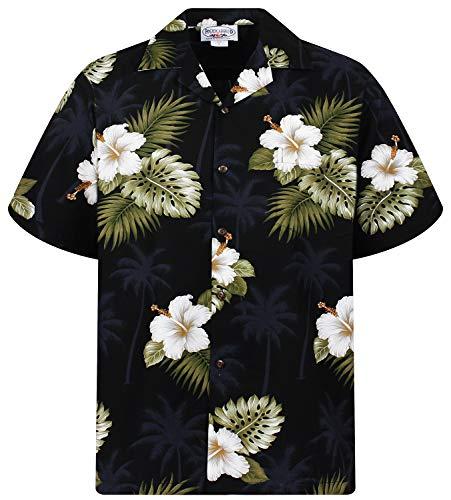 Disco Kostüm Größe 70's Plus - P.L.A. Pacific Legend Original Hawaiihemd, Kurzarm, Weißer Hibiskus Allover, Schwarz, S