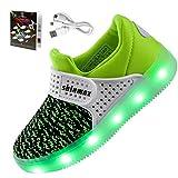 【2016 NEW RELEASE】Shinmax Frühling-Sommer-Herbst-Breathable LED Schuhe 7 Farben USB Aufladbare Leuchtschuhe Kinderschuhe mit CE-Zertifikat für Halloween Weihnachten Dank Giving Day 00123 (27, Grün)