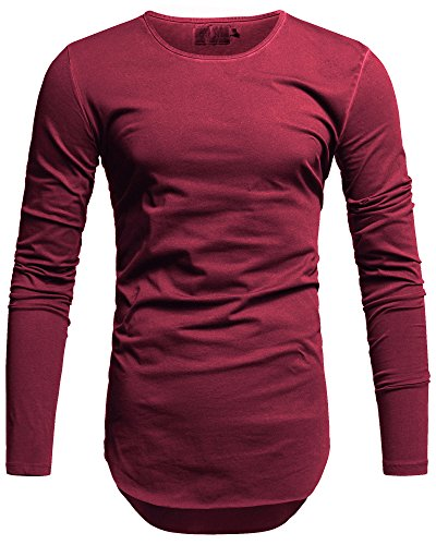 Crone Herren Langarm Shirt Longsleeve Slim Fit T-Shirt Leicht Oversize Basic Sweatshirt in vielen Farben (XL, Cherry Red)