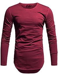 cd2041f62f482 Crone Yuma Slim Fit Oversize Herren Rundhals Longsleeve Basic Langarm  T-Shirt in vielen Farben