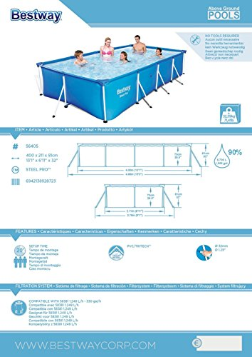 Bestway 56405 Piscina Desmontable Tubular Infantil Family Splash Frame Pool 400x211x81 cm