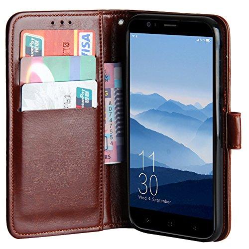 Raiphy Leder Brieftasche Hülle für Elephone P8 Mini,Telefon schützender lederner Fall mit Einem Einbauschlitz und Standfunktion (Braun)