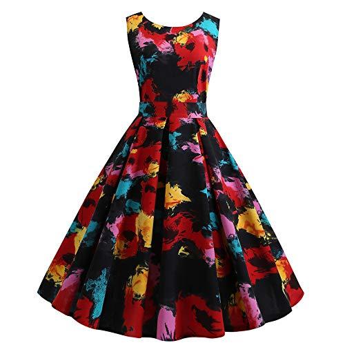 Auiyut Damen 1950er Vintage Retro Sleeves Rockabilly Kleider Cocktailkleid Rundhals Faltenrock Kleid Knielang Drucken Abendkleider Festliche Elegante Kleider