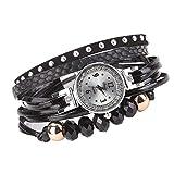 Uhren Damen, Nanshoude Geflochten Armbanduhren Günstige Uhren Wasserdicht Casual Analoge Quarz Uhr Luxus Armband Coole Uhren Lederarmband Mädchen Frau Uhr (schwarz)