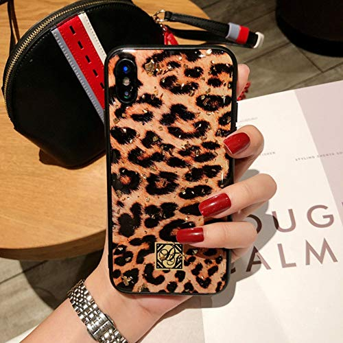 VIWIV Anwendbare iPhone Case XS MAX Fashion Drop All Inclusive Cover Epoxy Gold Leaf Leopard Apple XR Hülle Creative Zebra Pattern Tiger Stripe/6s/7/8plus Mobile Shell,1,iPhoneXR Leopard Cover