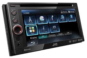 JVC KW-AV61BT Sintolettore Doppio DIN DVD/DivX/USB 1A, Bluetooth, Schermo da 6.1 Pollici, Compatibile iPod/iPhone, Nero