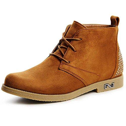 topschuhe24 707 Damen Boots Stiefeletten Glitzer Camel