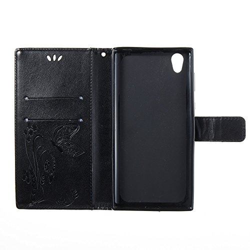 Solid Color Faux Leder Bookstyle Brieftasche Stand Case mit geprägten Blumen & Lanyard & Card Slots für Sony Xperia L1 ( Color : Darkblue ) Black