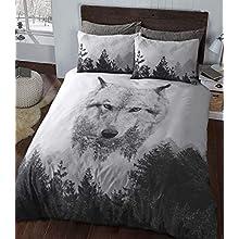 Sleepdown Wolf Panel Multi Colour Winter Luxury Soft Duvet Cover Quilt Bedding Set With Pillowcase - Single (135cm x 200cm)