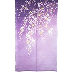 Rh Japanese Noren Purple Door Curtain Cherry Blossom Linen Noren Long