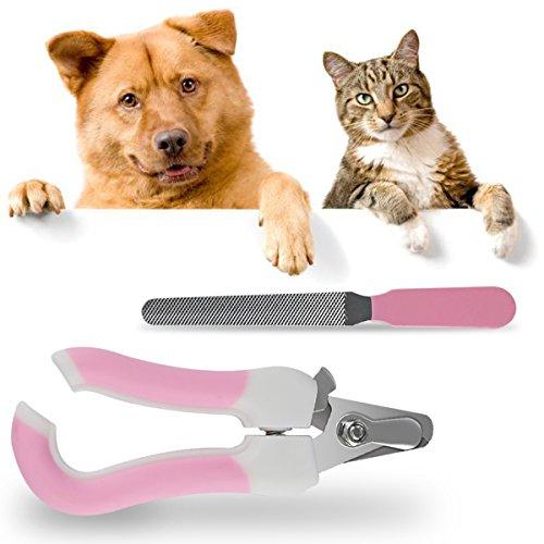 RCRuning-EU Krallenschere für Hund & Katze,krallenzange für kaninchen klein mittelgroße groß Haustier Krallenzange mit Schutzvorrichtung, Sicherheitsverschluss und Nagelfeile-Rosa