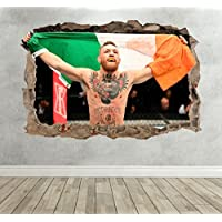 3D Conor McGregor MMA Breakout Smashed Wall Sticker Boys Bedroom Fighter - Extra Large Landscape 100cm (w) X 70cm (h) preiswert