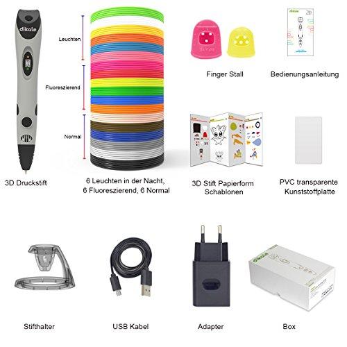 3D Stifte + PLA 18 Farben - 【Neueste Version 2018】3D Stifte mit PLA Farben 120 Fuß und 250 Schablonen eBook, Dikale 07A 3D Pen als kreatives Geschenk für Erwachsene, Bastler zu kritzeleien, basteln, malen und 3D drücken - 2