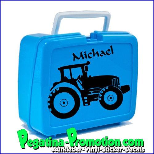 Brotdosen Aufkleber Traktor und Name für Schule, Kindergarten, Brot-Box, Lunch-Box etc.