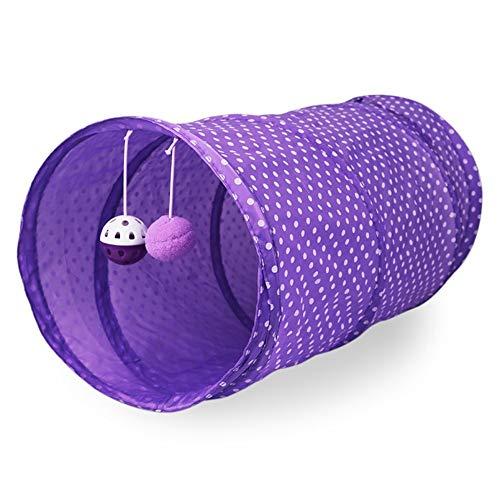 Wide.ling Katzenspielzeug Katzentunnel, Katze Spielzeug Hundenspielzeug Spieltunnel Faltbarer Spiel Tunnel für Kaninchen Hasen Katze Hunde und Kleintiere Haustier (lila)